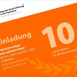 EX-IN Jahrestagung und 10-Jahresfeier EX-IN Deutschland 9./10.11.2021 in Bremen – Präsenz und Online